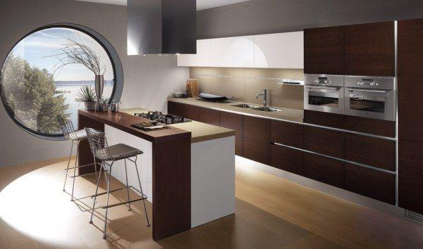 Gorgeous Modern Brown Minimalist Italian Kitchen Design Ideas