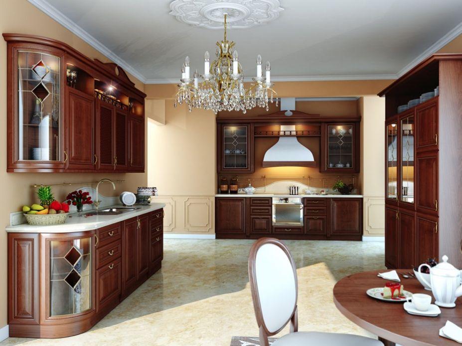 Luxury Kitchen Brown Kitchen Cupboards Ideas Crystal Chandelier