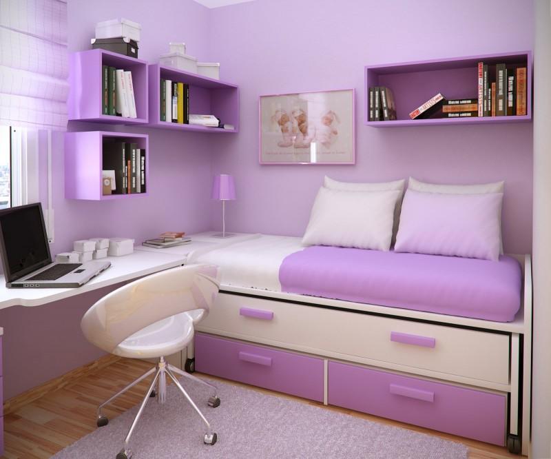 Minimalist Purple Girls Bedroom Furniture Small Learning Desk