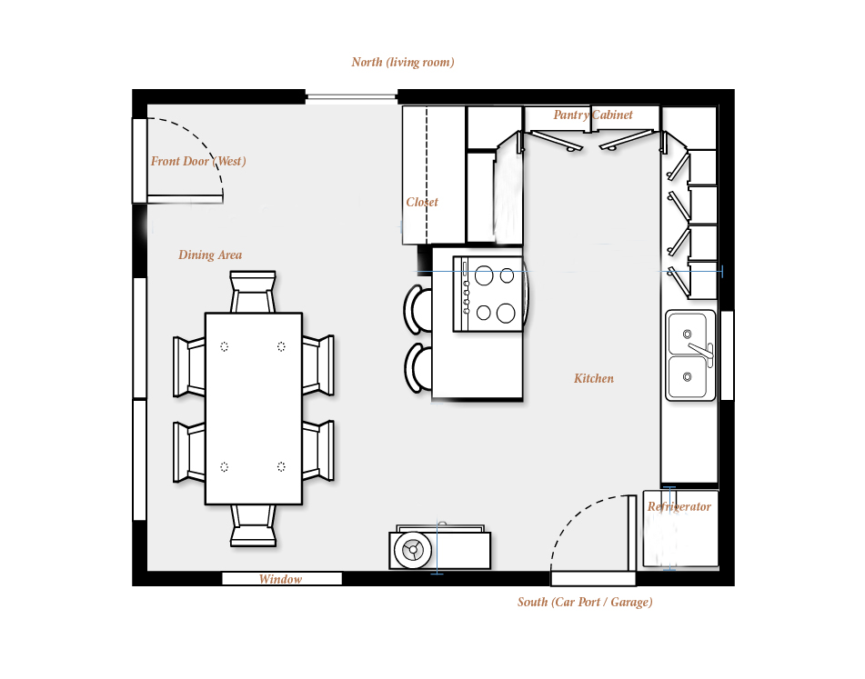 stunning kitchen floor plans with dining area and bar