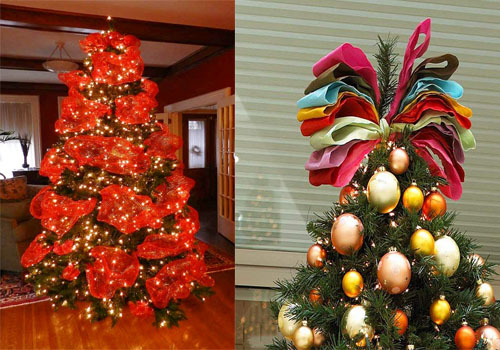 Decorating A Christmas Tree With Ribbon.Christmas Tree Decorating Ribbon Ideas
