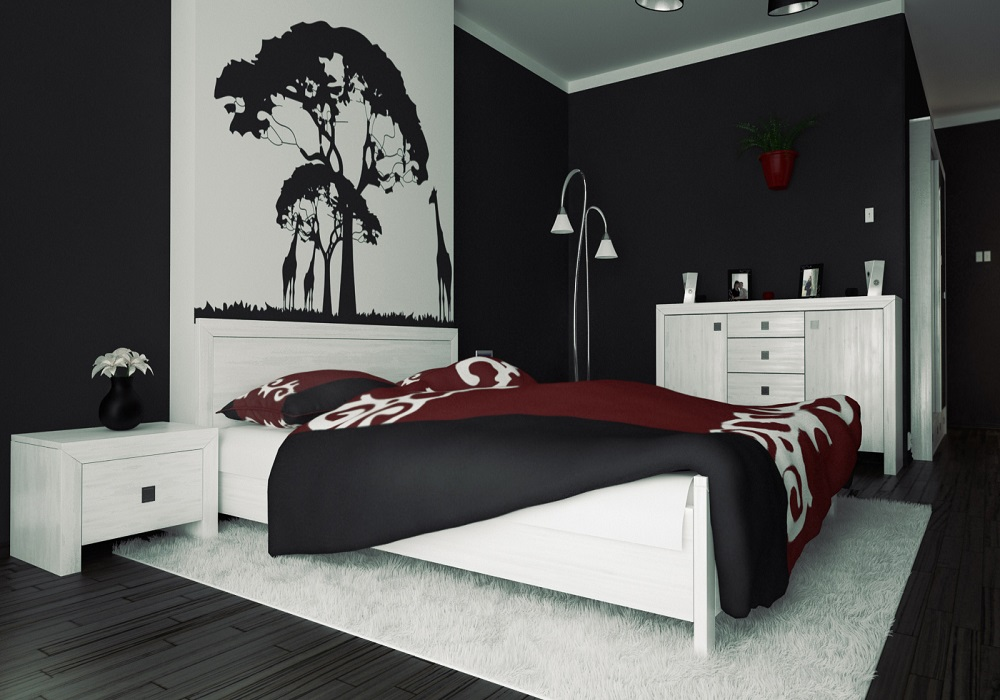 black painted bedroom black wall bedroom interior design viahouse 10867