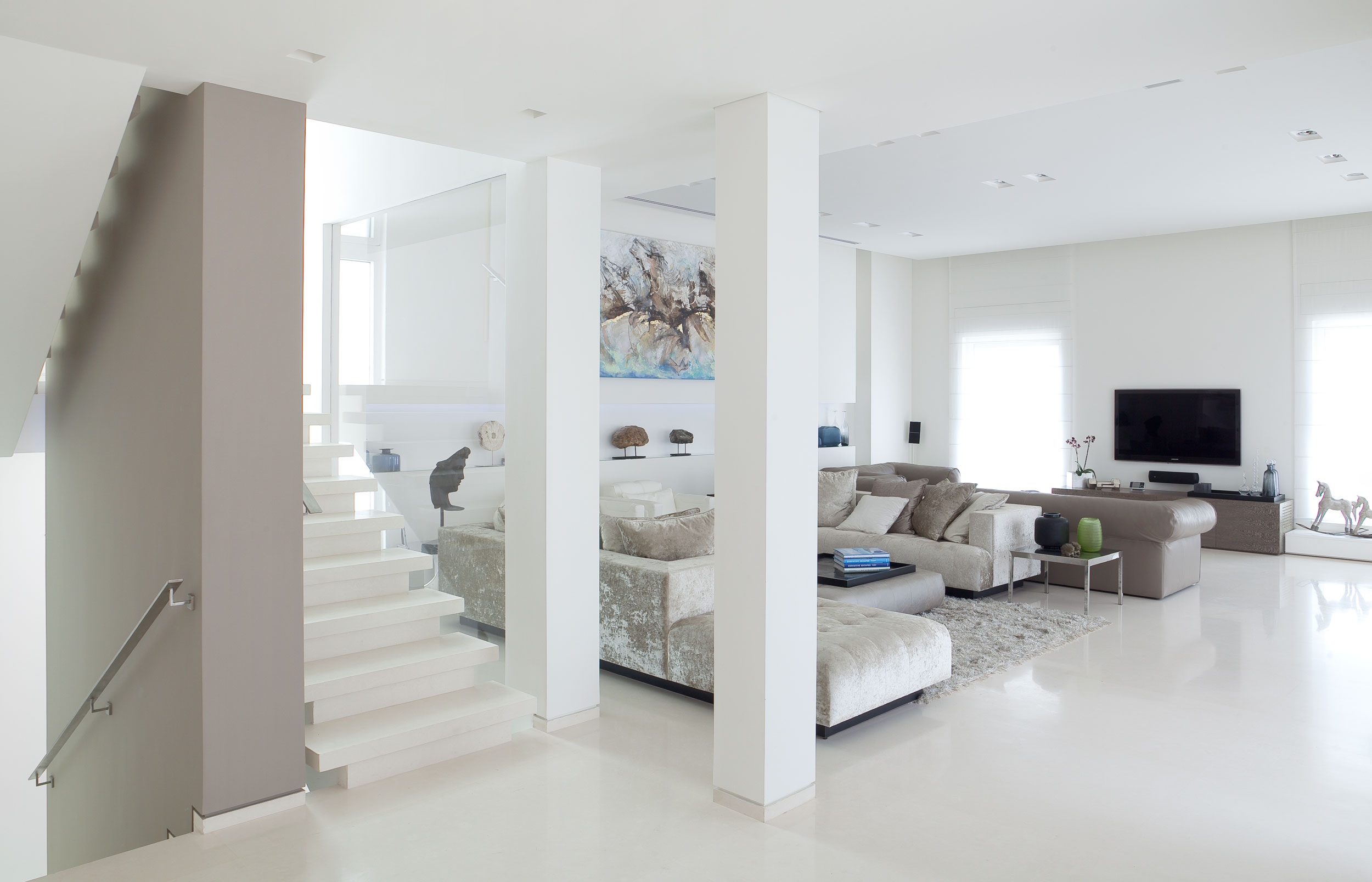 Living Room With White Colour