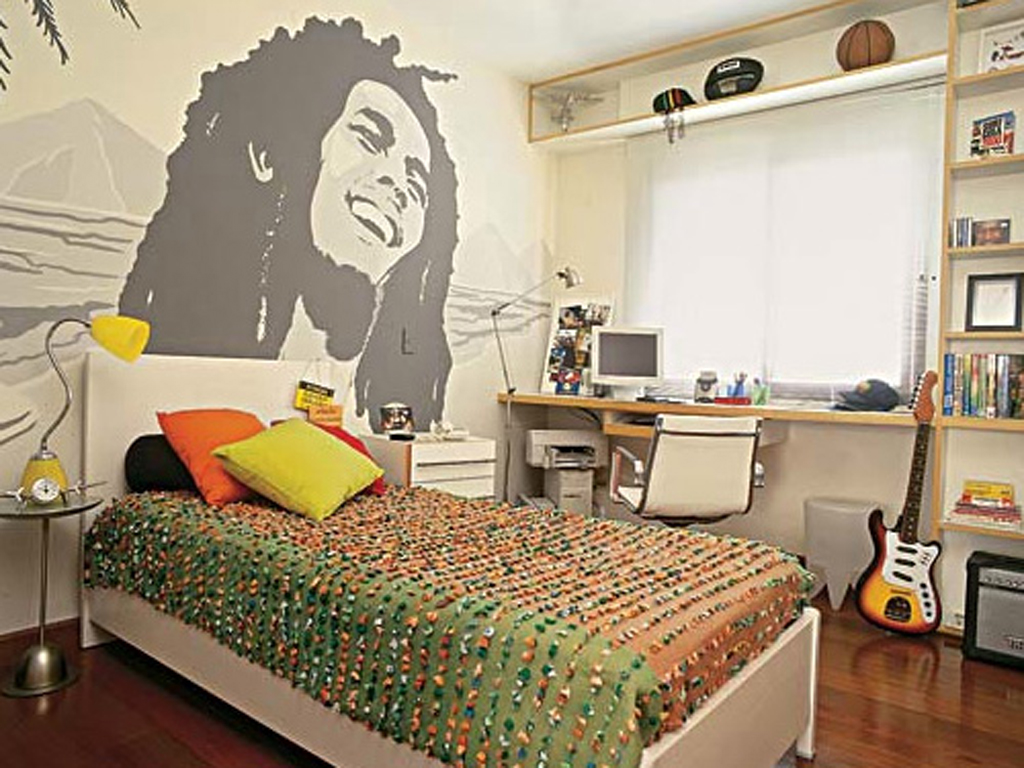 Wonderful Modern Style Music Theme Bob Marley Cool Bedroom Ideas For Guys With Mosaic Idea Of Walling Unit Design
