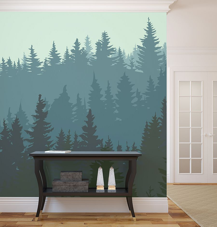 Forest Wall Mural Ideas For Living Room Viahouse
