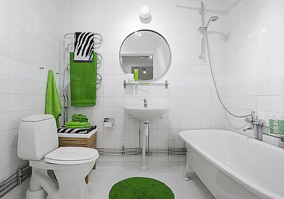 Apartment Bathroom Decoration Ideas with White and Green Theme
