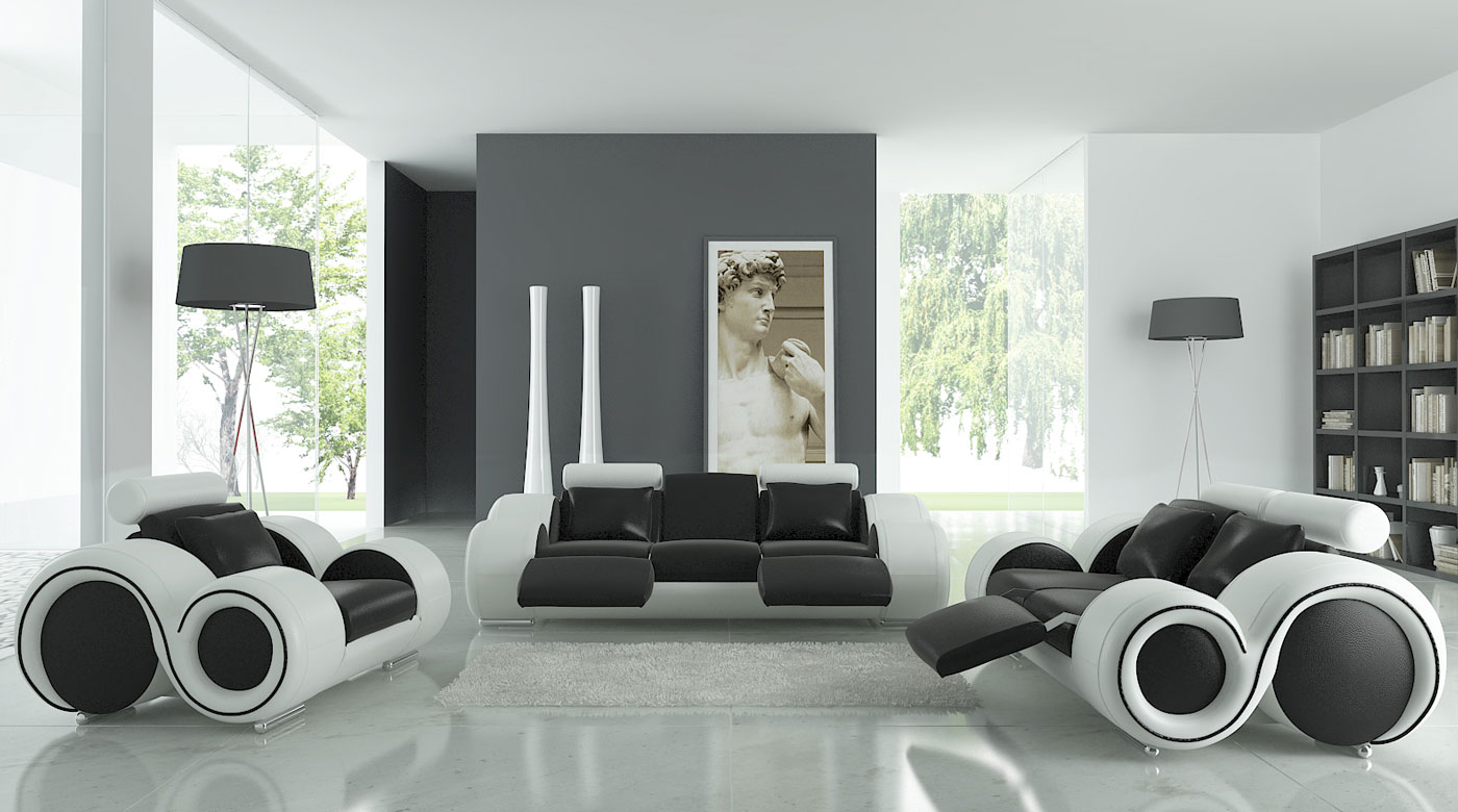 Black and white living room design idea with black and - Black sofa living room decorating ideas ...