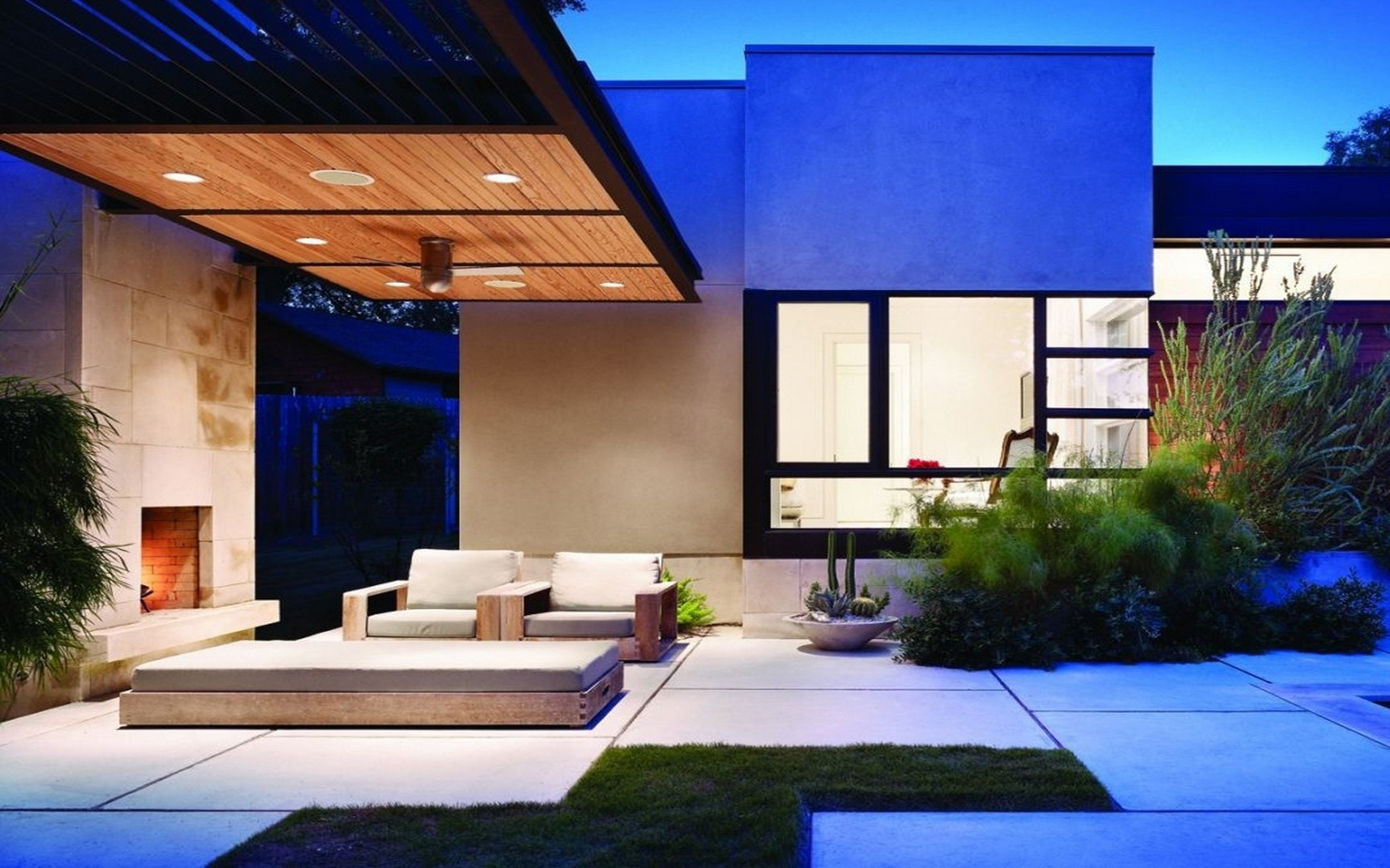 Modern house architecture idea with exterior living area