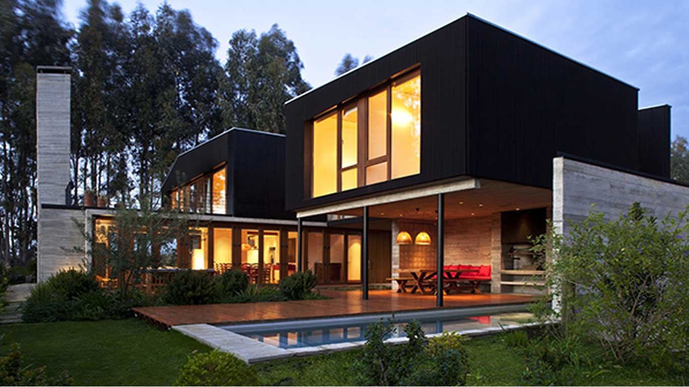 Modern House Architecture with Beautiful Yellow Interior and ...