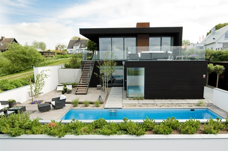 . sweden modern beach house designs with pool