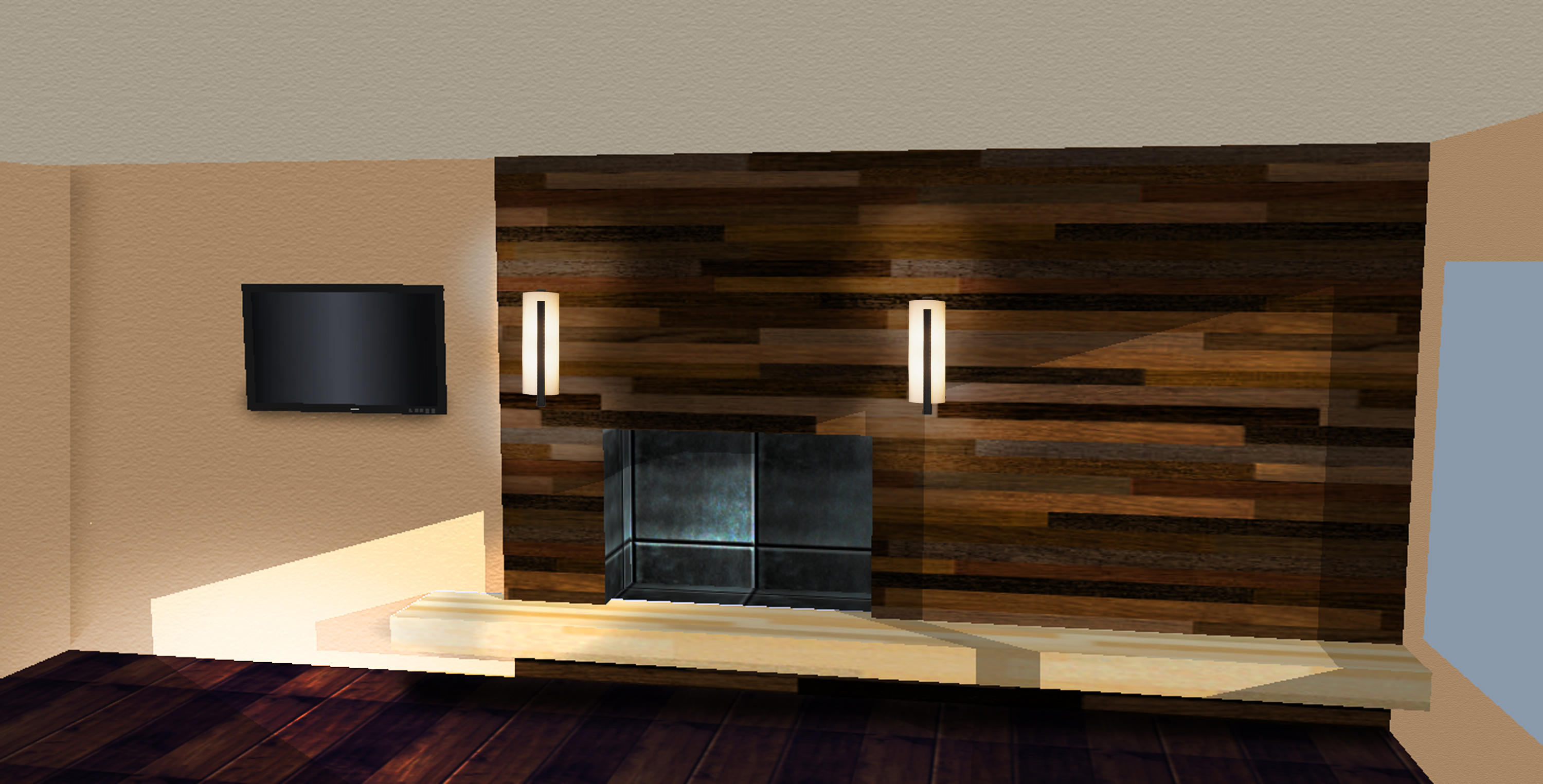 Luxurious Modern Fireplace Design Picture